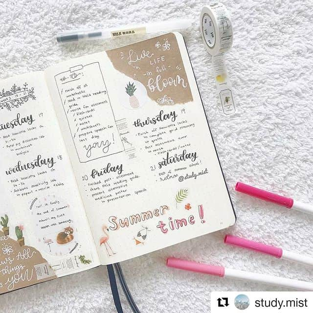 Free flowing Bullet Journal weekly layout