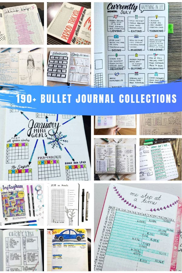 So many fun bullet journal collections ideas in this list - I don't think I've ever seen so many all in one place! #bulletjournal #bujo