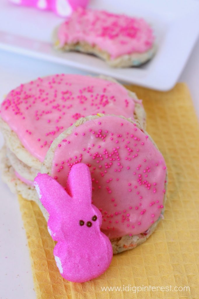 Funfetti Cookies with Peeps Marshmallow Frosting