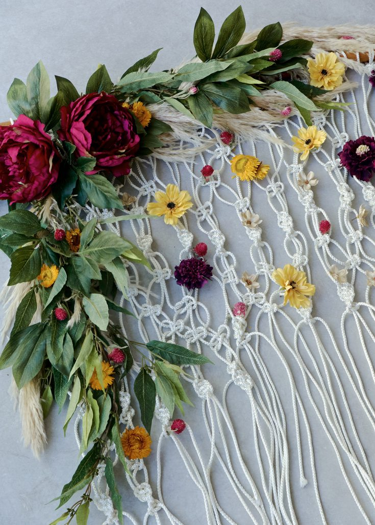 DIY Silk Floral Macramé Backdrop