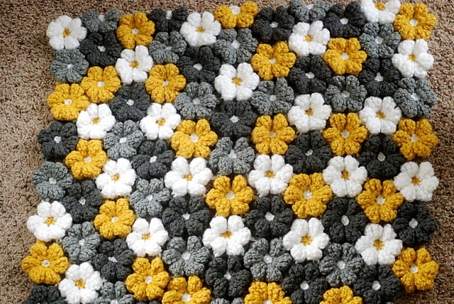 Gender Neutral Crochet Flowers Blanket