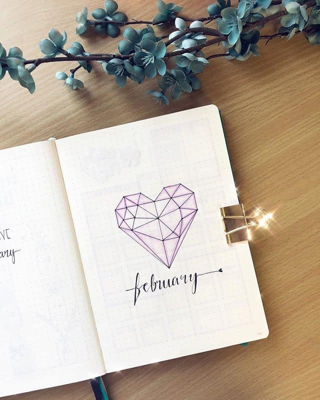 Geometric Heart Bullet Journal Cover Page