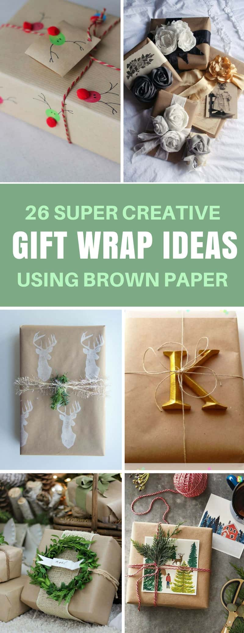 Gift Wrap Ideas Using Brown Paper - Seriously these ideas look so good your friends will think you paid someone to wrap your gifts! #christmas #birthday #giftwrap