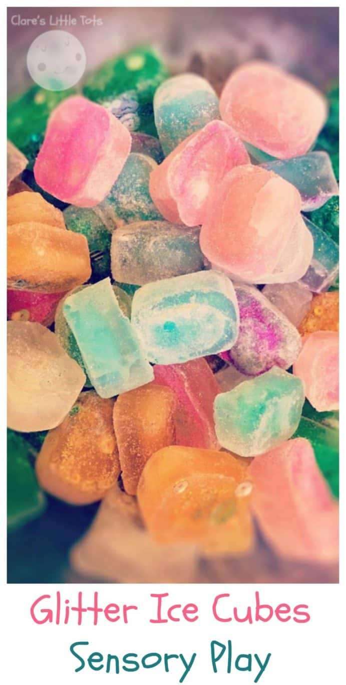 Glitter Ice Cubes Sensory Play