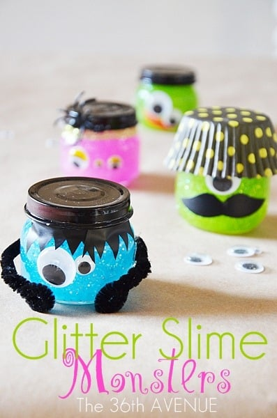 Glitter Slime Monsters - If your kids trade candy at school on Halloween why not try this instead. Adorable monster jars filled with Halloween slime!