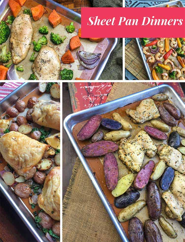 These sheet pan dinners are gluten free and made from whole foods. They're super simple and perfect for midweek meals. #glutenfree