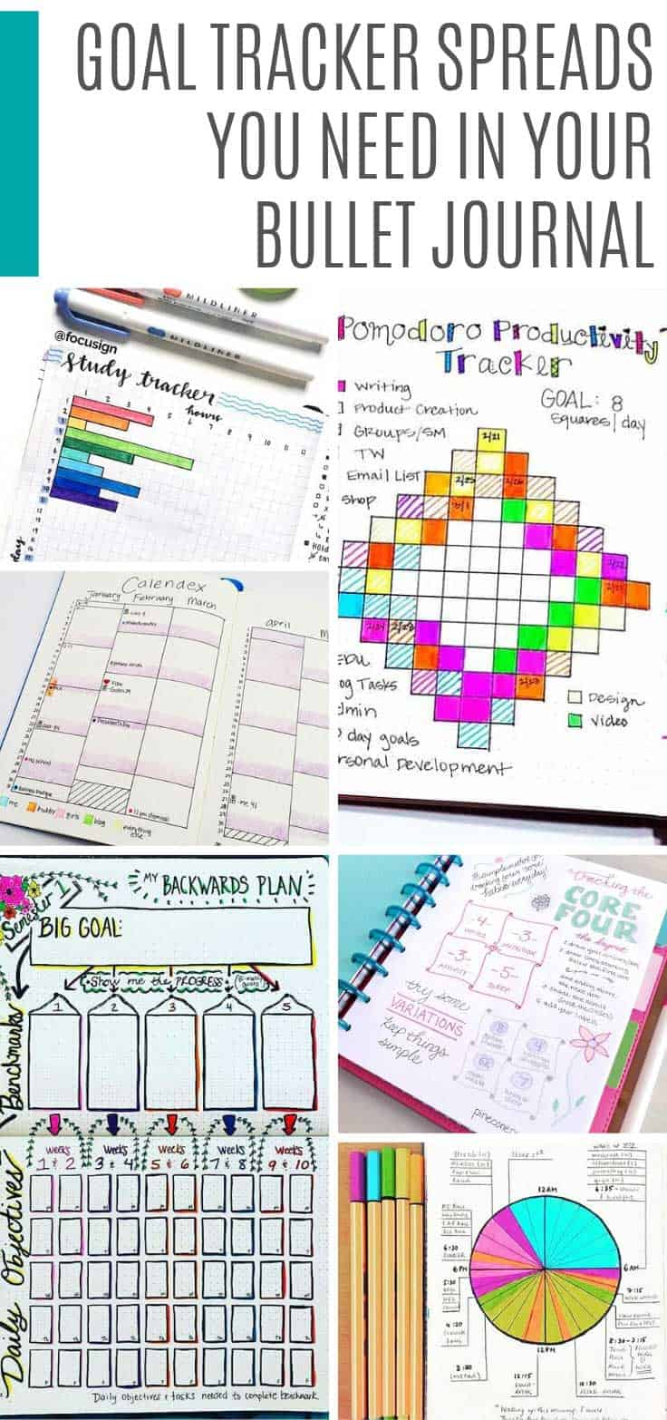 These goal tracker ideas are just what you need to make your dreams a success. Including pomodoro, level 10 life and 20 before 2020 spreads. #bulletjournal