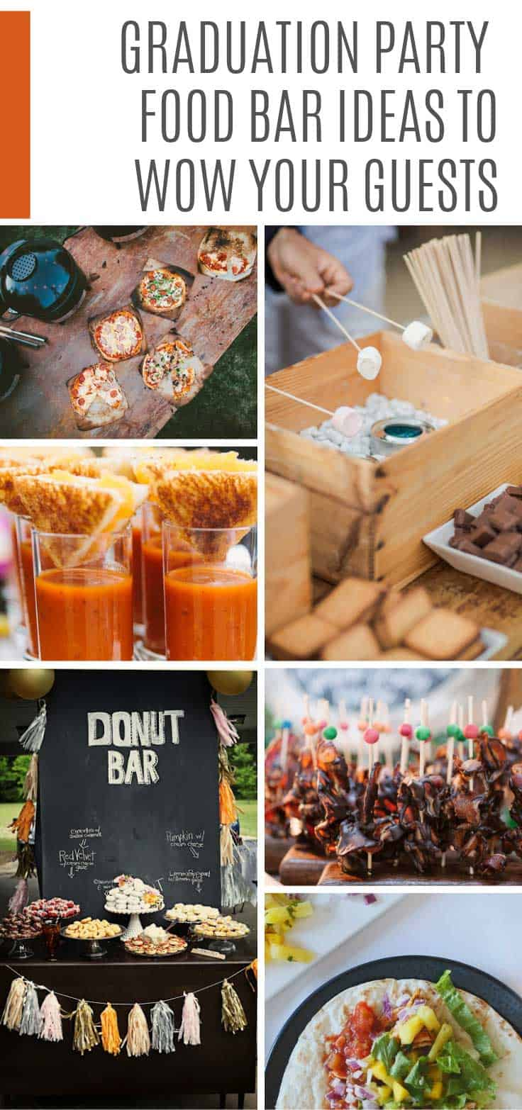 Impress your guests and throw a party to remember with these creative graduation food bar ideas. Everything from pizza and grilled cheese to donuts and waffles!