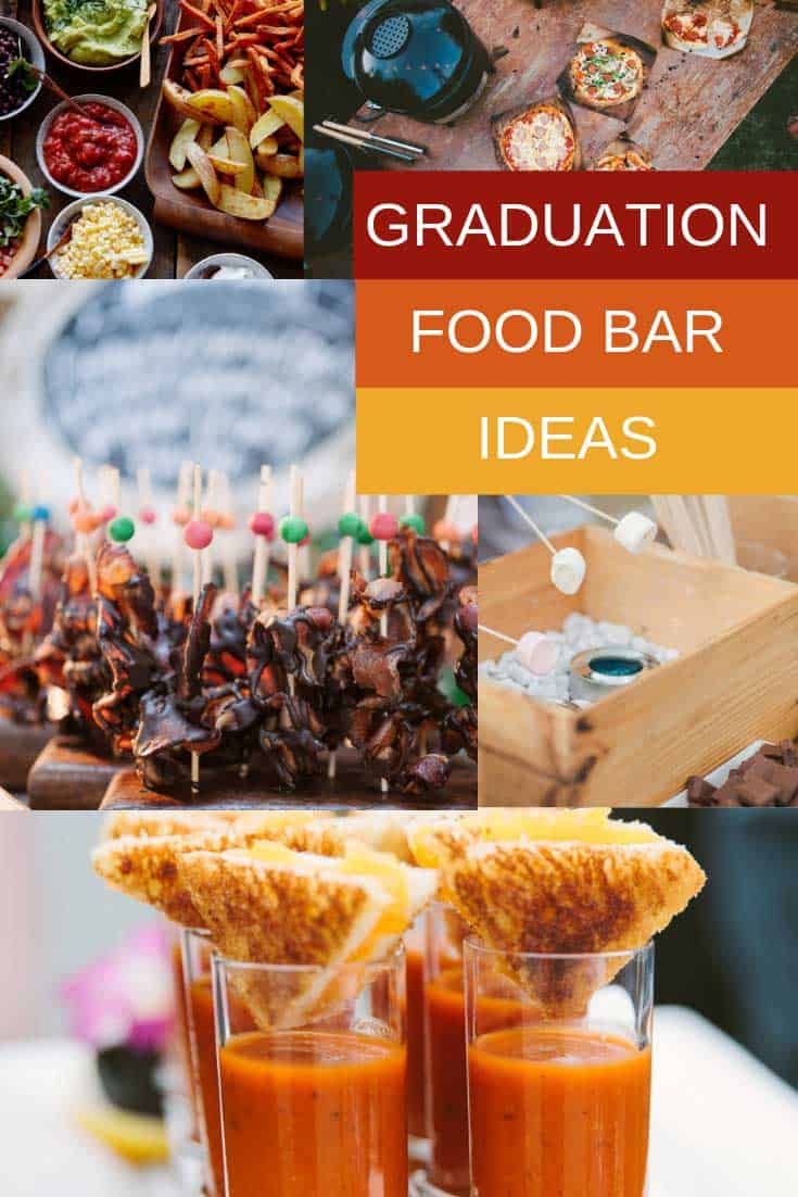 These graduation party food bar ideas are sure to impress your guests! These stations are easy to put together and include everything from pizza and tacos to donuts and ice creams!