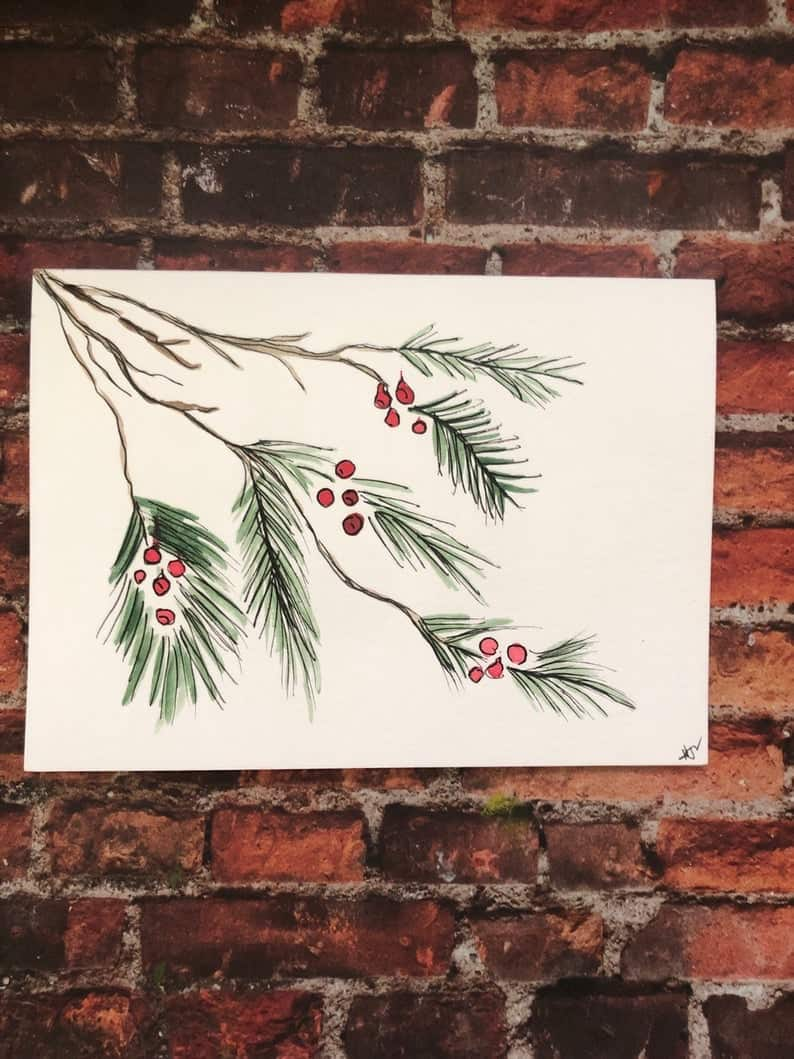 Handmade Watercolor Evergreen Card