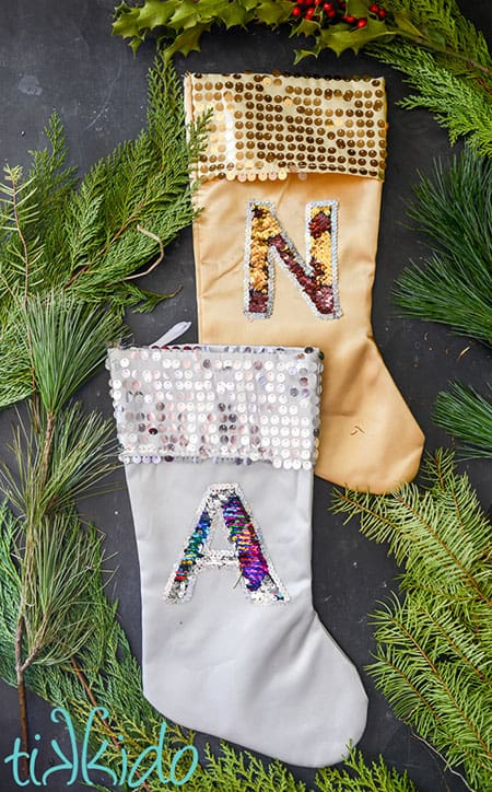 Mermaid Sequin Fabric Monogram Christmas Stocking Tutorial