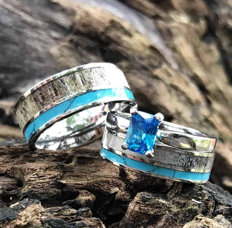 His & Her Natural Deer Antler Ring Set Turquoise Engagement Rings