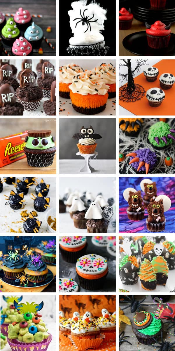 So many adorable Halloween cupcakes for kids with spooky decorating ideas! #Halloween #cupcakes