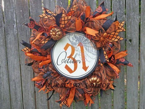 Halloween Deco Mesh Wreath with October 31 Wooden Sign