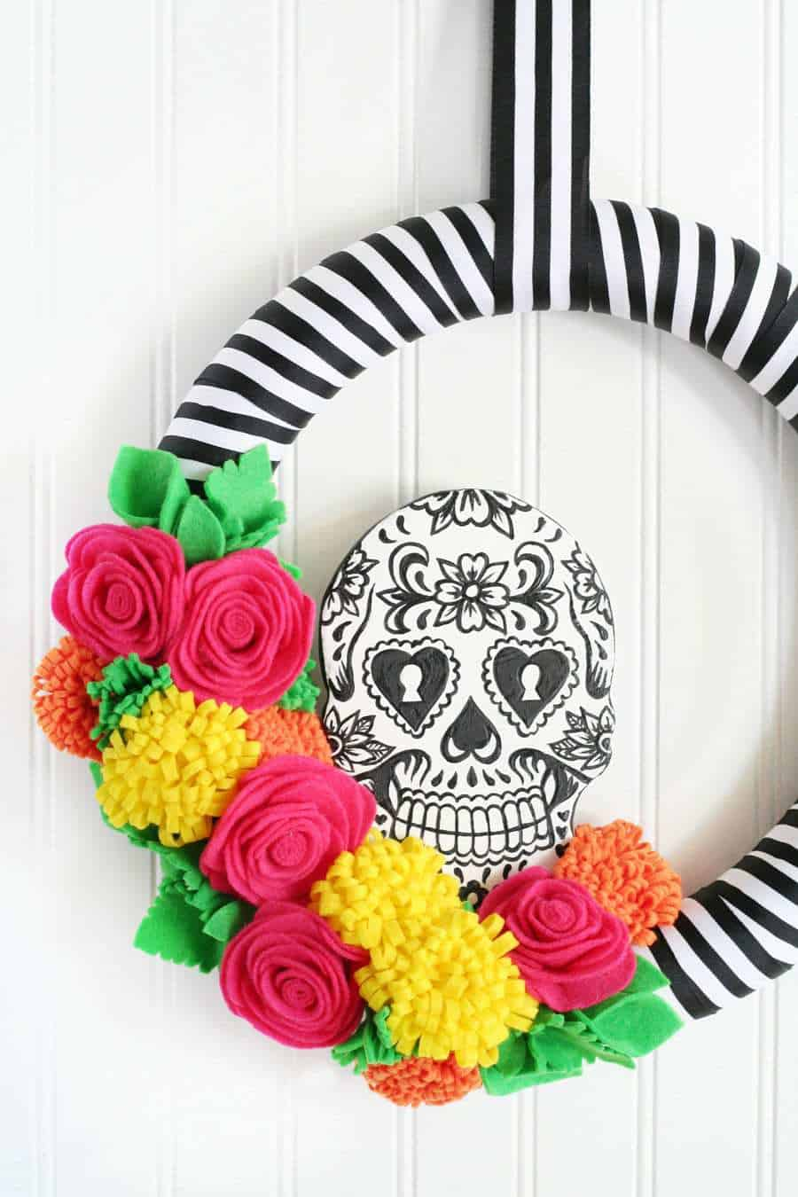 This sugar skull wreath is so striking you'll want to keep it up past Halloween!