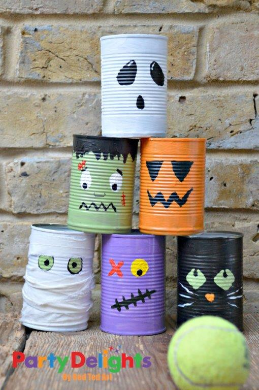 Halloween Tin Can Bowling Craft - They'd make pretty cute pencil pots too!