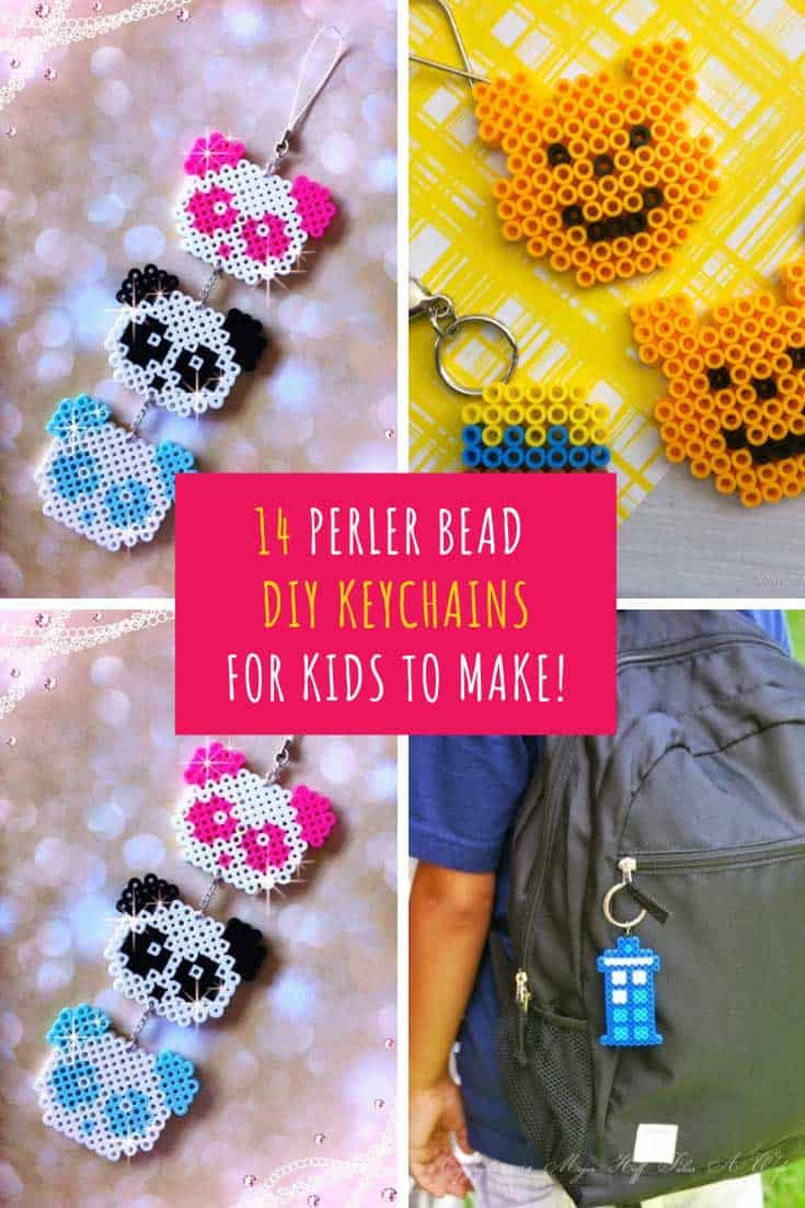 These Hama bead keychains are the perfect back to school craft. Your kids can hang them from their zippers, give them to school mates as gifts or even to their teacher!