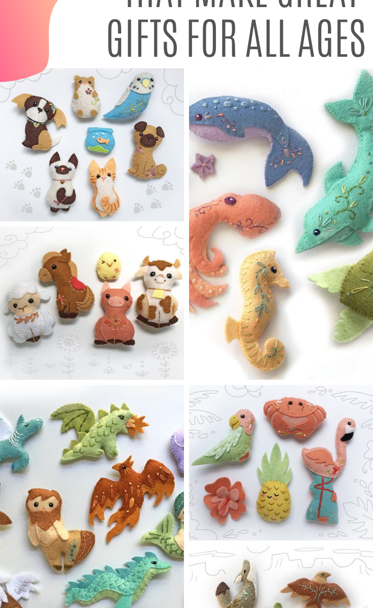 Oh my! SO many beautiful handmade felt toys! These patterns are easy to follow and make great gift ideas for baby showers, birthdays and Christmas!