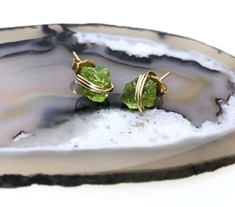 Dainty Raw Peridot Stud Earrings