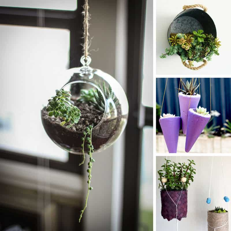 So many great ideas for DIY hanging planters!