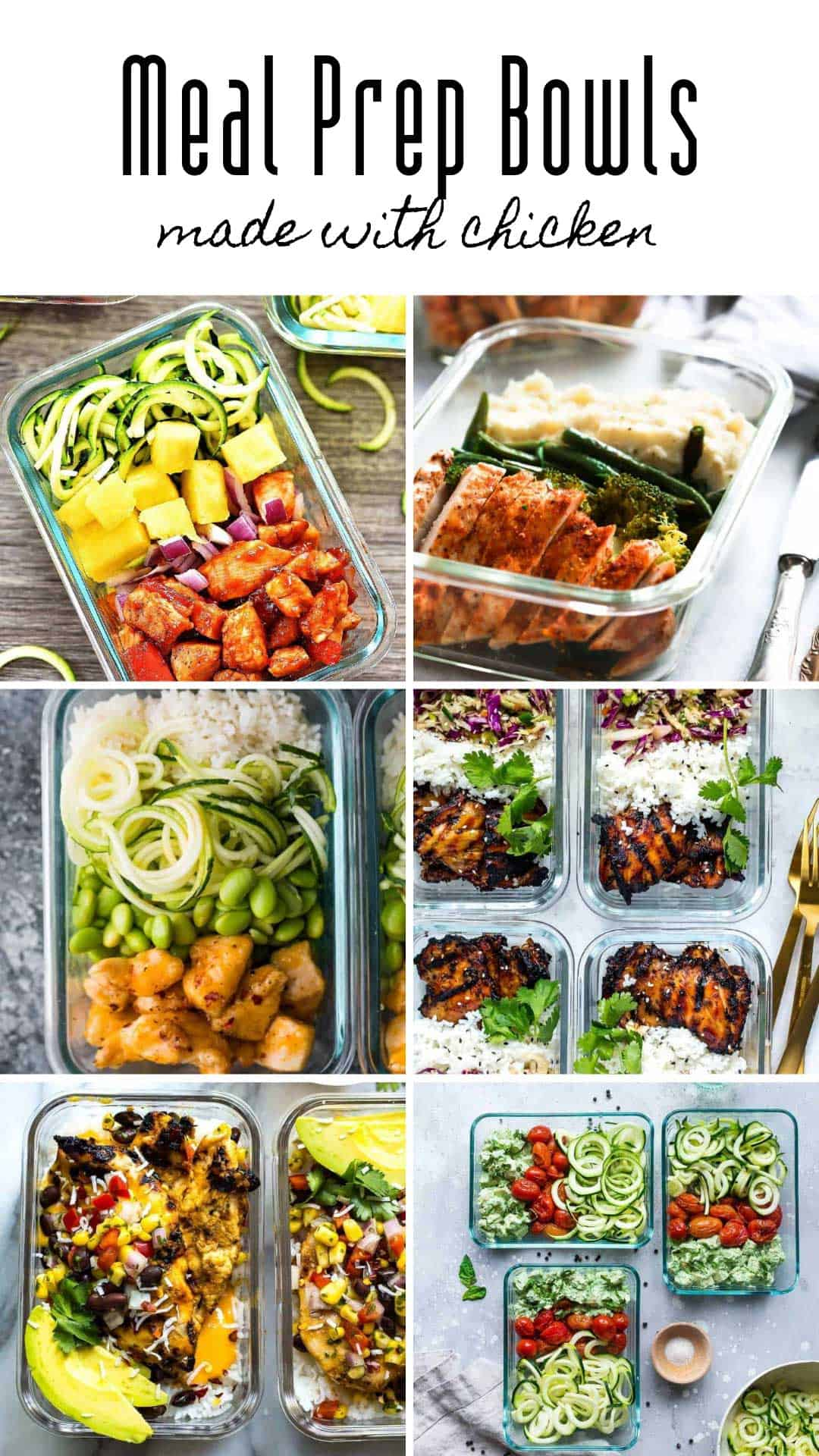 So many healthy meal prep bowls you can make with chicken! Perfect for lunch or dinner for your meal plan for the week! #mealprep #mealplan #mealprepping