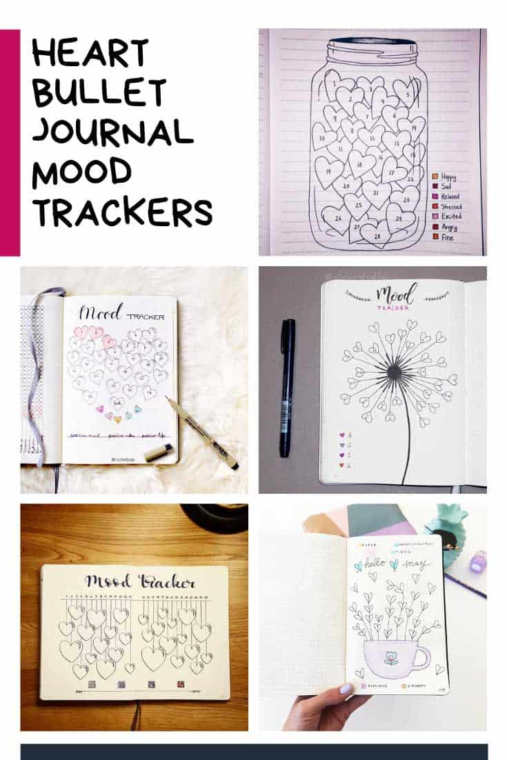 Loving these heart bullet journal mood tracker ideas - so creative!