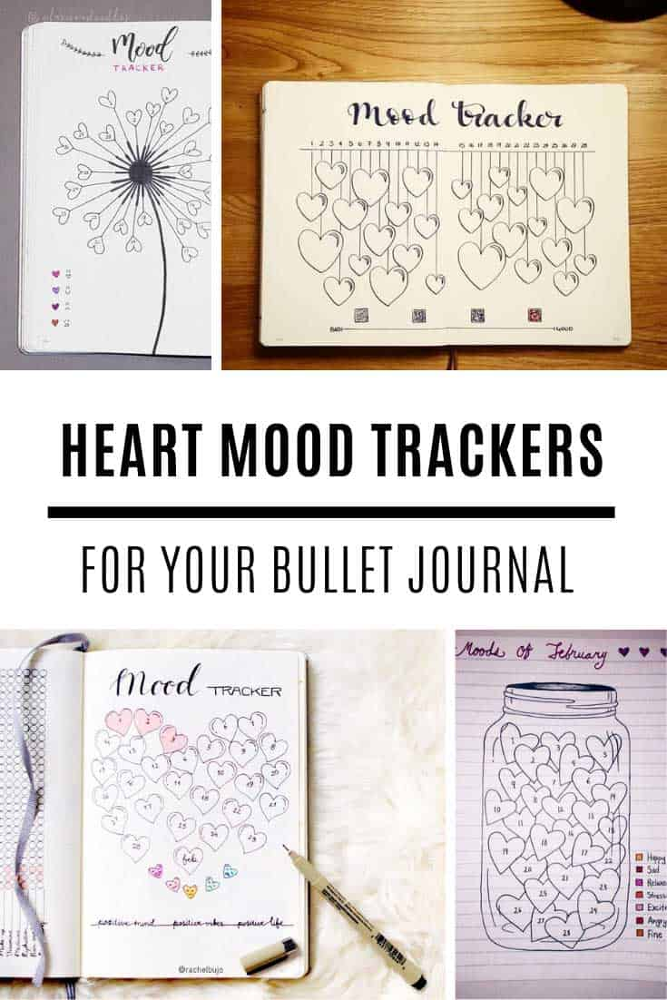 Loving these heart mood tracker bullet journal spreads! Perfect for Valentines!
