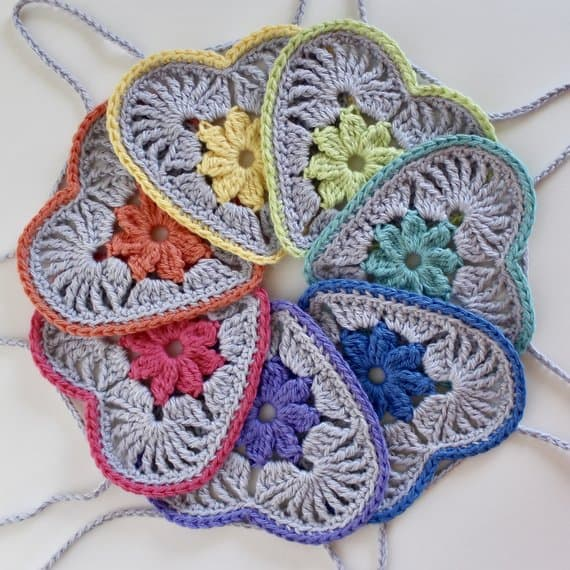 Heart in Bloom Crochet Motif