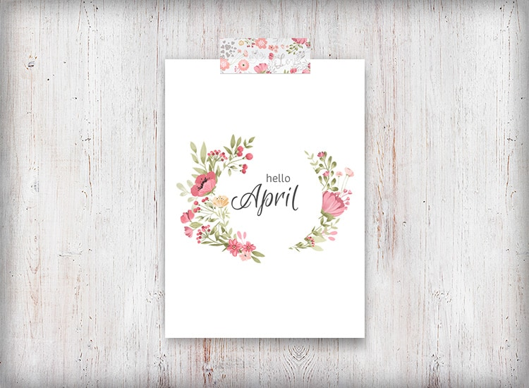 Hello April Floral Wreath Printable