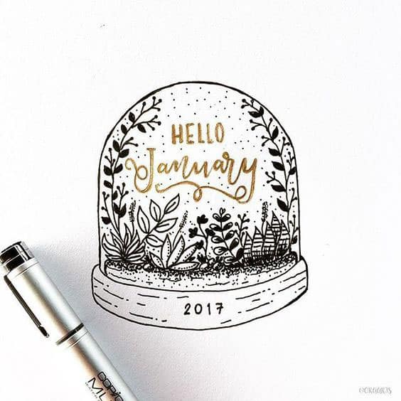Hello January Snow Globe Cover Page Bullet Journal