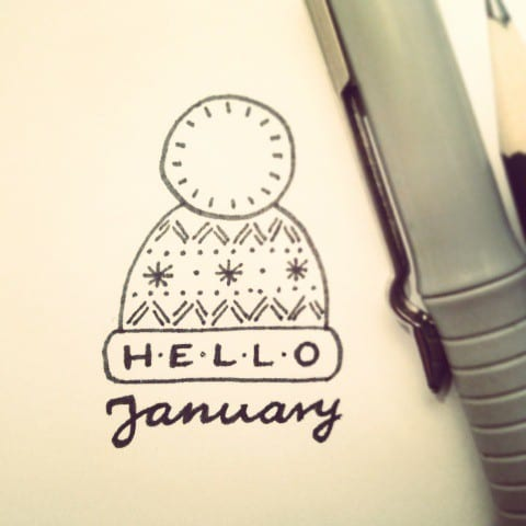 Hello January Wooly Hat Doodle Cover Page