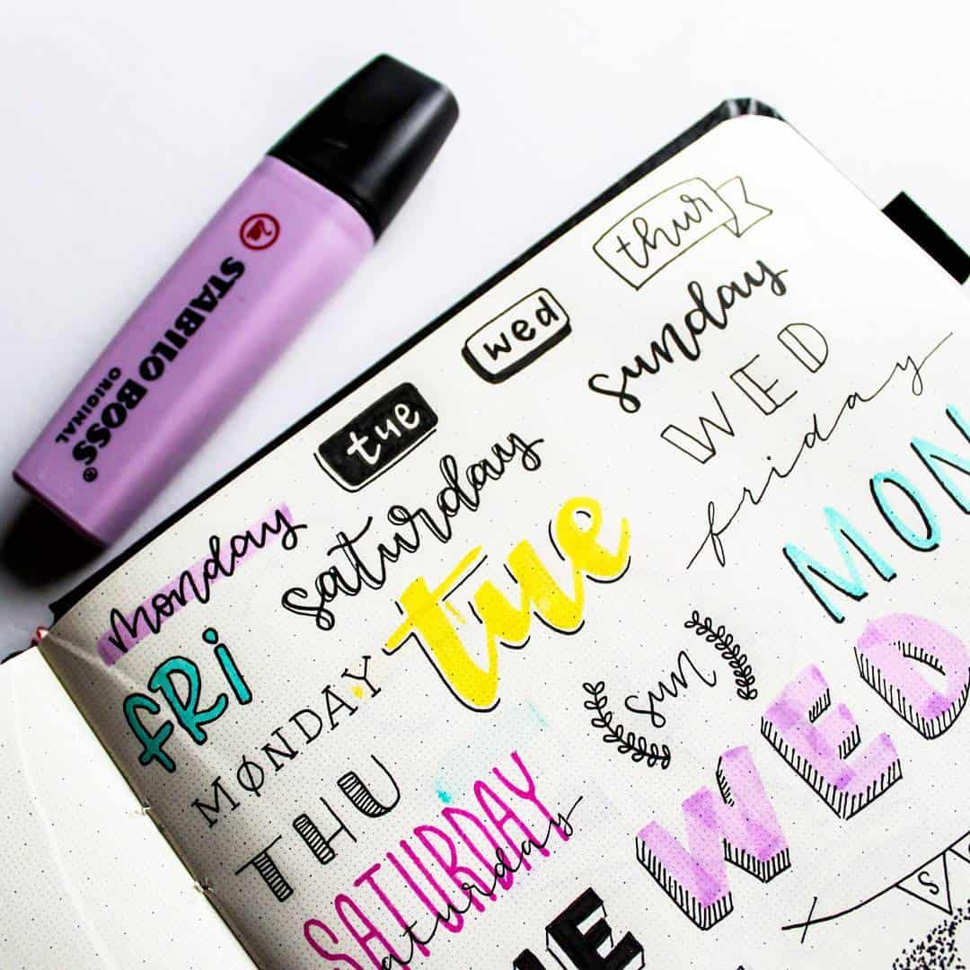 Highlighter pen bullet journal headers