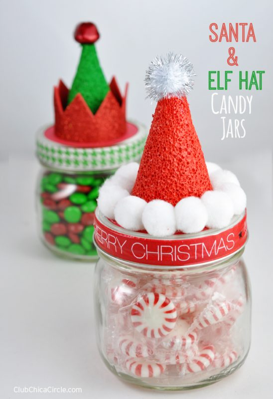 These Santa Hat jars are ADORABLE and a great way to gift Holiday fudge or candy!