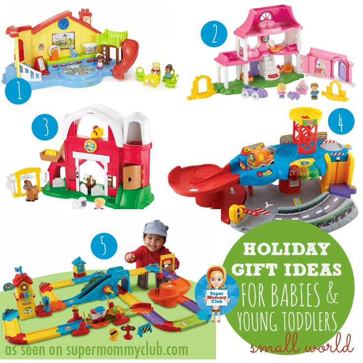 If you're buying a gift for a toddler then you cannot go wrong with Fisher Price Little People and VTech Go! Go! playlets. We have several of each at home and at my parent's and the kiddos will play with them for hours. The