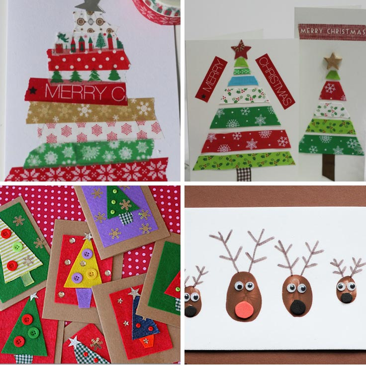 Adorable homemade christmas cards for kids to make just for Christmas card ideas to make at home