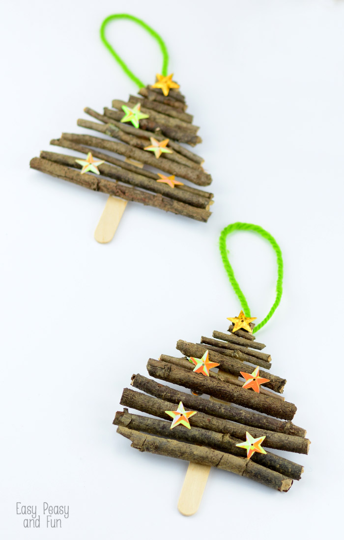popsicle stick and twigs christmas tree ornaments - Homemade Christmas Decorations For Kids
