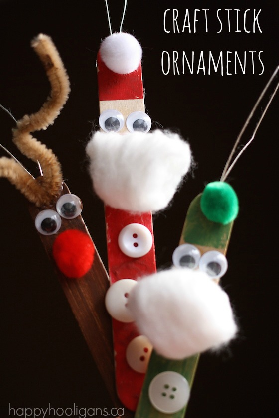Craft Stick Santa Elf and Reindeer