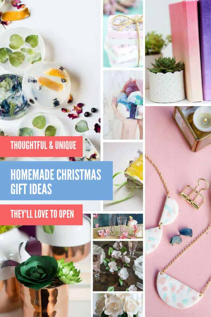 Loving these Homemade Christmas gift ideas! From colorful felt dolls and garlands for the children to gorgeous DIY jewellery and handmade notebooks for the grownups. We have your holiday hostess gifts covered too with homemade kitchen towels and table runners!