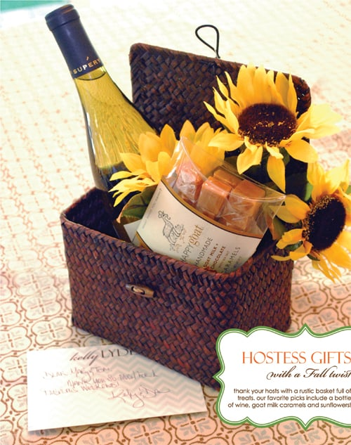 If you don't have time for homemade hostess gifts then check this one out for a basket of treats idea.