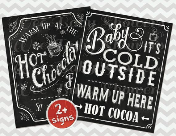 Hot Cocoa Bar Chalkboard Sign