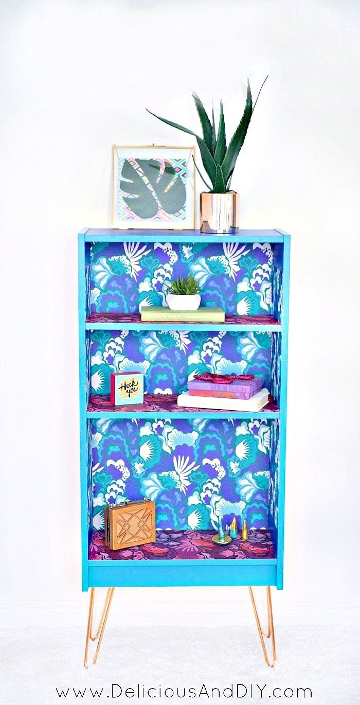 Upcycle a Bookshelf with Peel and Stick Wallpaper