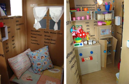 How to Build a Cardboard Playhouse with a Kitchen