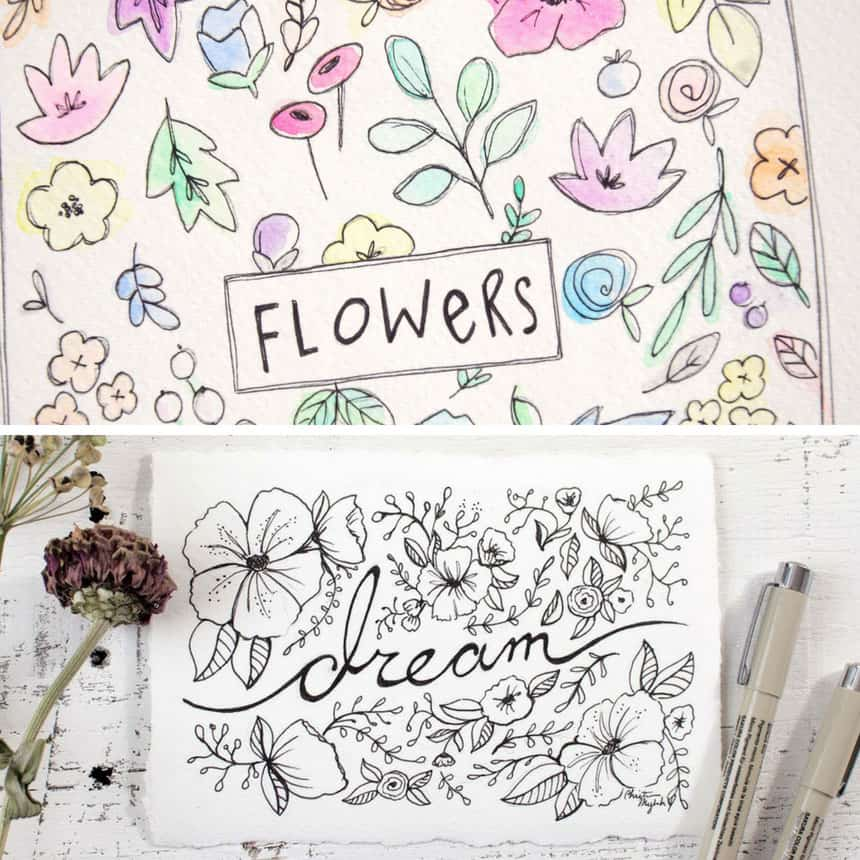 How to Doodle Flowers in Your Bullet Journal for Beginners
