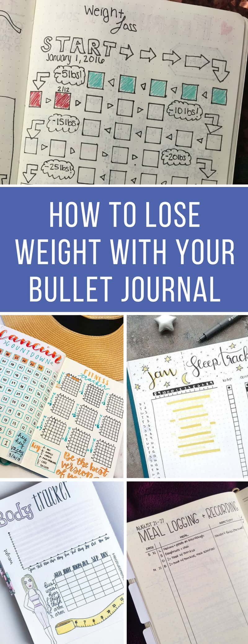 Bullet Journal Weight Loss Tracking - If you're trying to lose weight you'll love these tips from fitness guru Jillian Michaels that you can track with your Bullet Journal! #weightloss #bujo #bulletjournal