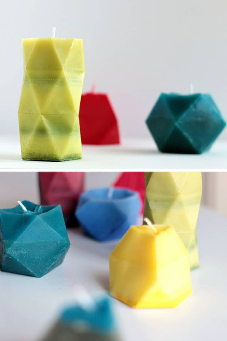 How to Make Rainbow Faceted Candles