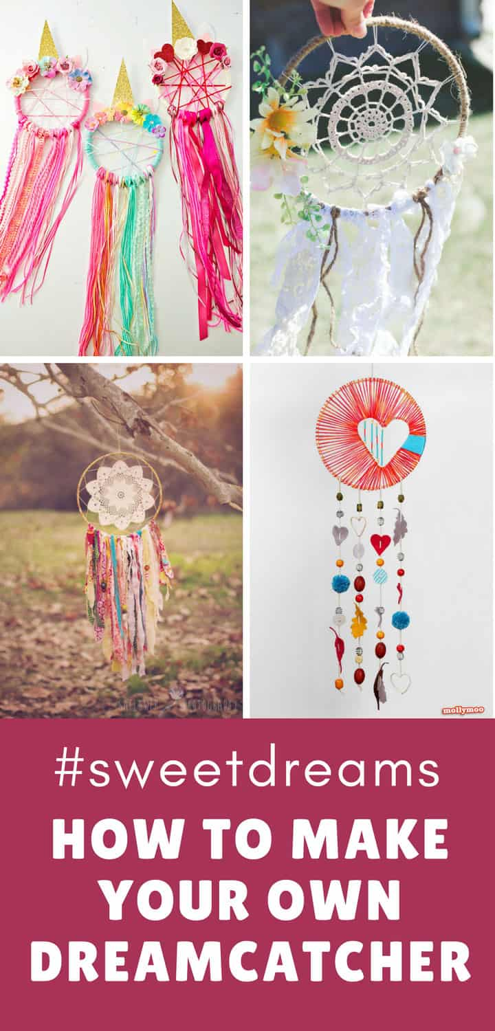Collage of four different dreamcatchers that you can make following these simple tutorials