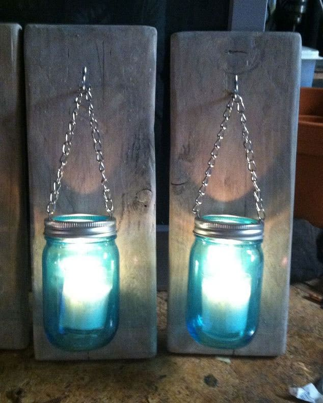 How to Make a Mason Jar and Pallet Wood Candle Holder