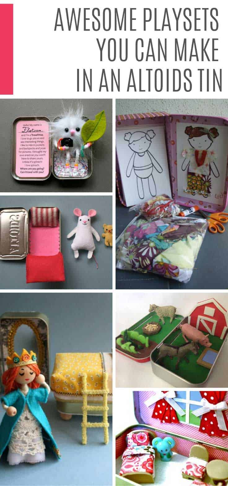 Find out how to make a playset in an atoilds tin - so many great ideas from dolls to farm animals and even a portable LEGO kit!