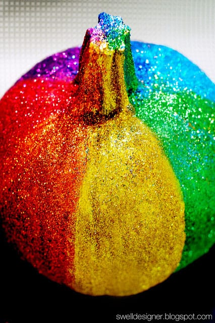 How to Make a Rainbow Glitter Pumpkin