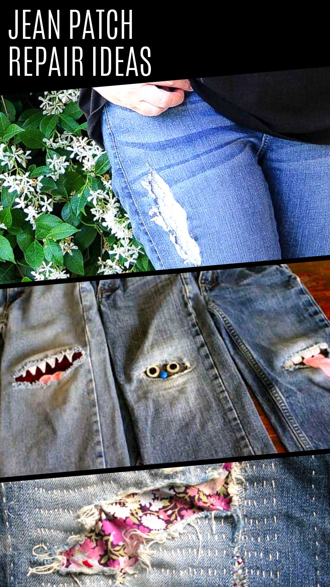If you want to know how to patch jeans so they look better than they did new check out these genius ideas! My kids loved the monster patches!